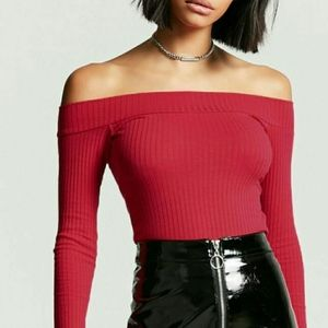 NWT Forever 21 Ribbed Off The Shoulder Top